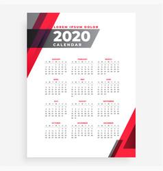 Elegant 2020 geometric new year calendar design vector