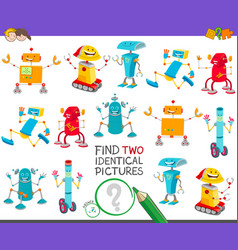 Find two identical robots game for children vector