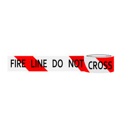 Fire line do not cross red an white caution tape vector