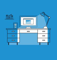 flat design of workstation vector image