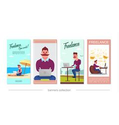 Flat freelance vertical banners vector