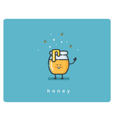 flat icon jar of honey funny cartoon character vector image
