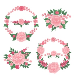 Flowers Set Floral Frames Greeting Cards Decor vector image