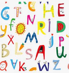 Funny alphabet seamless pattern for kids cute vector