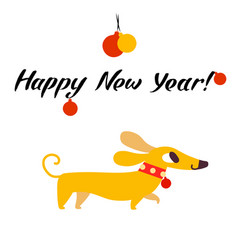 funny yellow dog symbol of year 2018 flat style vector image
