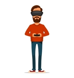 Gamer with Gamepad and Virtual Reality Headset vector