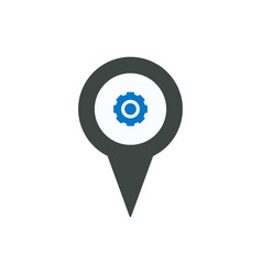 gear location marker pin place pointer setting vector image
