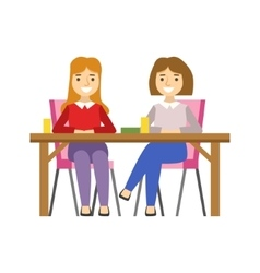 Girlfriends Sitting At The Table Smiling Person vector image