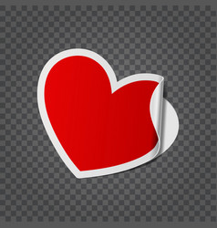 golden paper cut sticker heart shape isolated on vector image