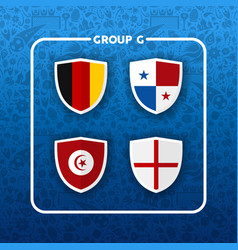 group g russian soccer event country flag list vector image