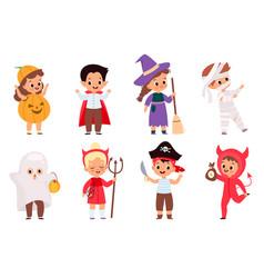 halloween kids happy children in scary different vector image