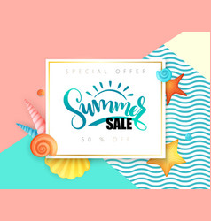 hand lettering summer sale text surrounded vector image