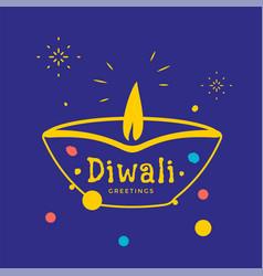 happy diwali greeting card with diya candle vector image
