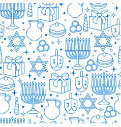 Happy hanukkah celebration seamless pattern with vector