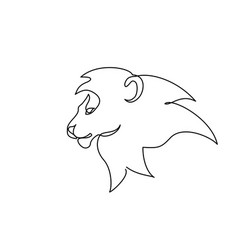 head lion with mane one line drawing vector image