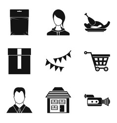 home decoration icons set simple style vector image