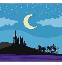 horse carriage and a medieval castle vector image