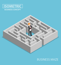 isometric confused businessman stuck in a maze vector image