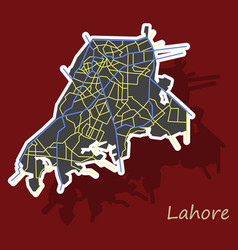 Lahore city map color sticker panoramic vector