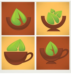 leaves and bowls vector image