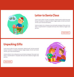 Letter to santa claus and unpacking gifts web vector