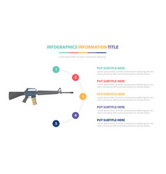 m-16 assault riffle infographic template concept vector image