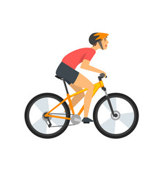 Male athlete riding bike cyclist character on vector