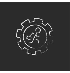 Man running inside the gear icon drawn in chalk vector image