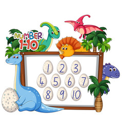 math counting number dinosaur theme vector image