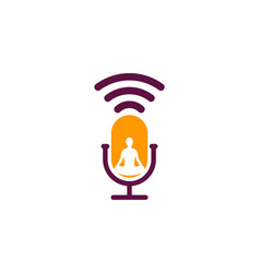 meditation podcast logo icon design vector image