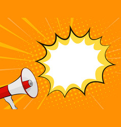 megaphone and speech bubble in pop art style vector image