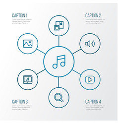 Multimedia outline icons set collection of play vector