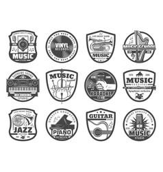 Music instruments microphones vinyl records vector