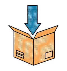 packing box carton with arrow down vector image