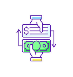 Paid check cashing rgb color icon vector
