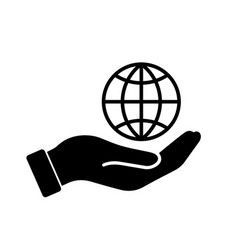 Palm out hand holding wire globe earth world vector