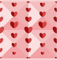 pattern of red hearts on volumetric pink vector image