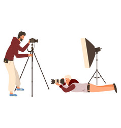 photography hobby people with camera photographer vector image