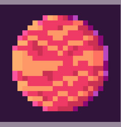 planet with spots pixel space game graphics vector image
