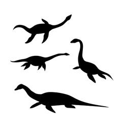 Plesiosaur silhouettes vector