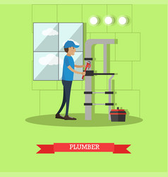 plumber in flat style vector image