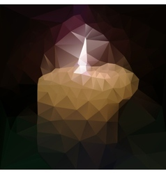 polygonal mosaic of burning candle vector image