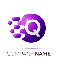 Q letter splash logo purple dots circle bubble vector