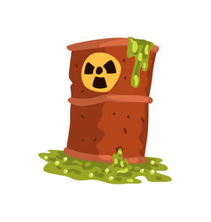 Rusty flowing barrel nuclear waste ecological vector