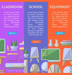 School classroom furniture poster set vector
