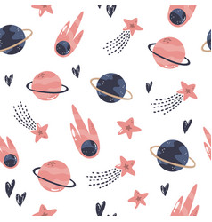 Seamless pattern with cosmic objects planets vector