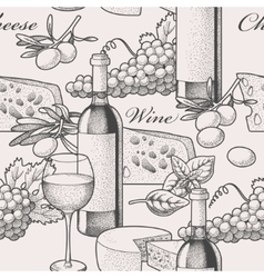 Seamless wine and cheese vector image