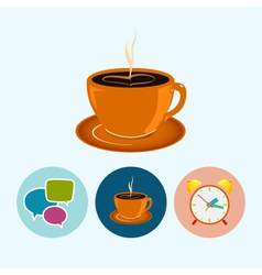 Set icons with speech bubble cup of tea vector