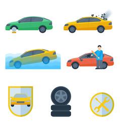 Set insurance cases car crash stolen wheel vector