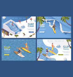 Set landing pages isometric for surfing school vector